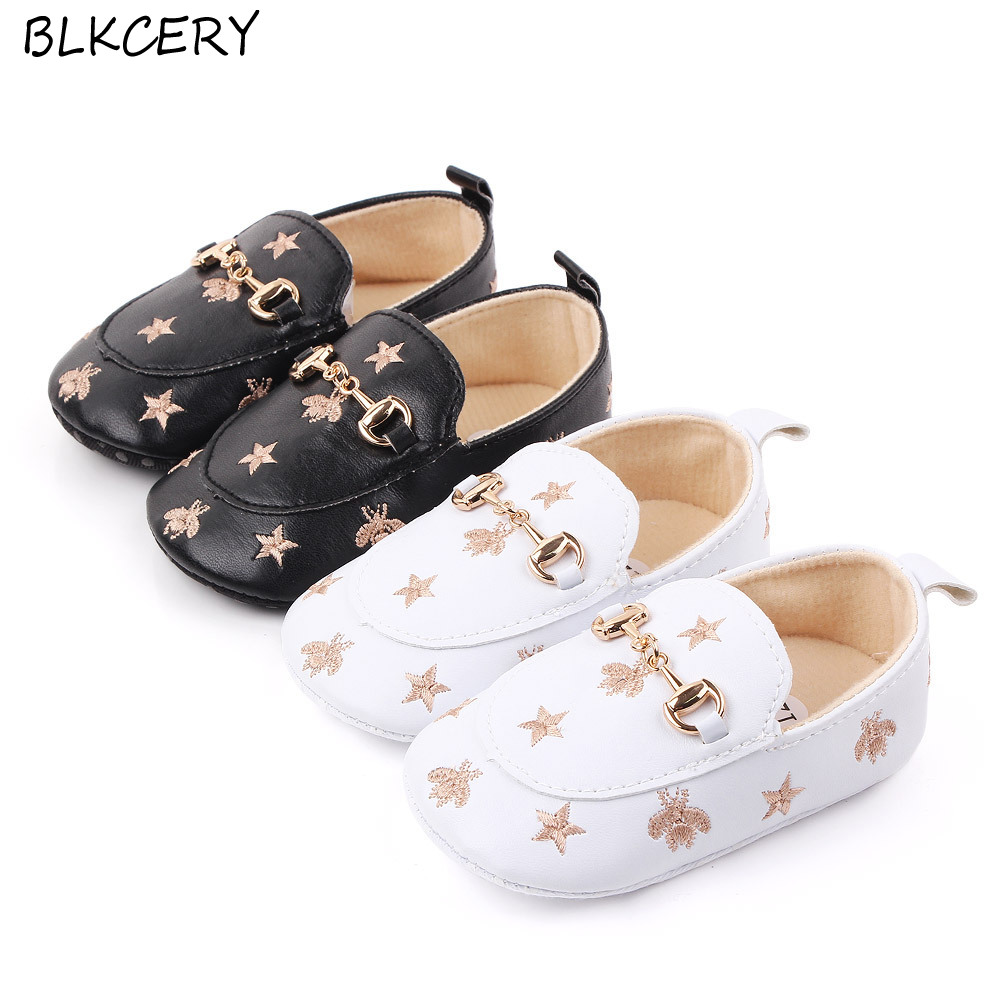 Baby Boy Shoes for 0-18 M with Bees Stars Newborn Baby Casual Shoes Toddler Infant Loafers Shoes Cotton Soft Sole Baby Moccasins image