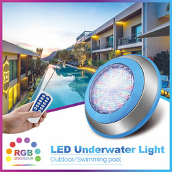 Stainless Steel Flat 24W 36W Led Swimming Pool Light Wall-Mounted IP68 Waterproof 12V RGB color chang with Remote Par56