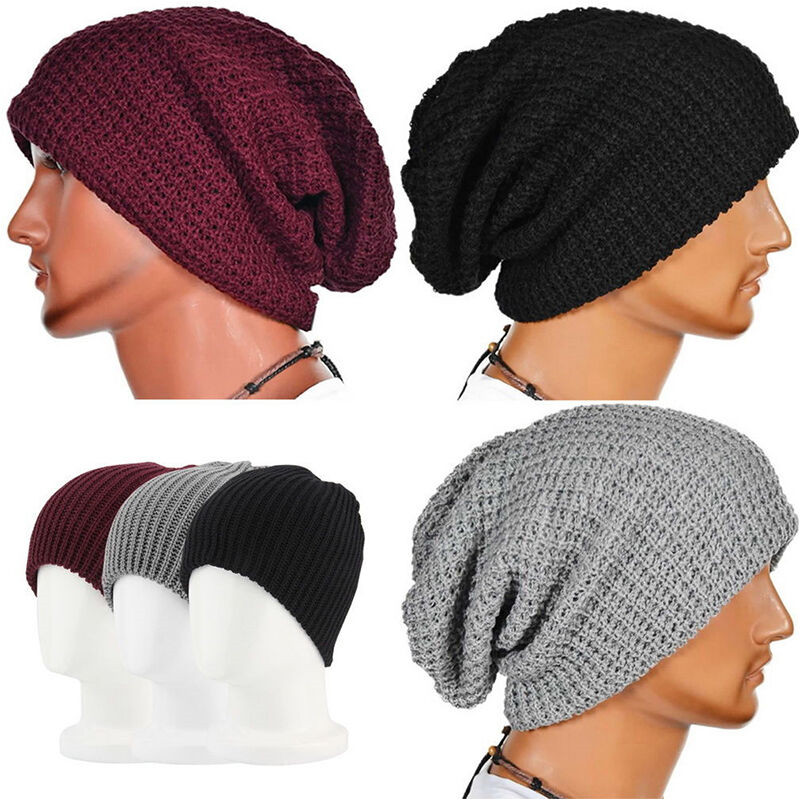 Men Women Warm Long Beanie Baggy Cap Winter Slouchy Knitted Casual Solid Color Hat Unisex