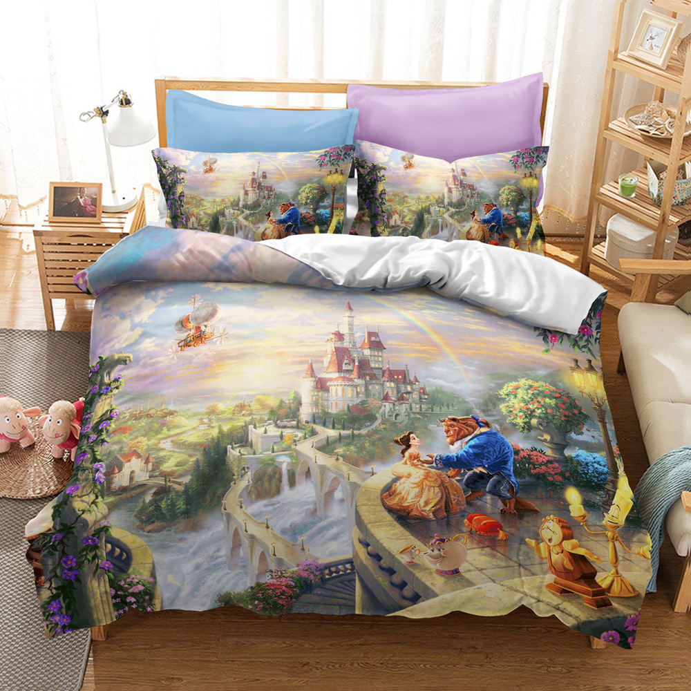 Disney Animation Movie Beauty and Beast Bedding Beauty Princess Is Decorated with Quilts, Pillowcases, Children's Bedrooms