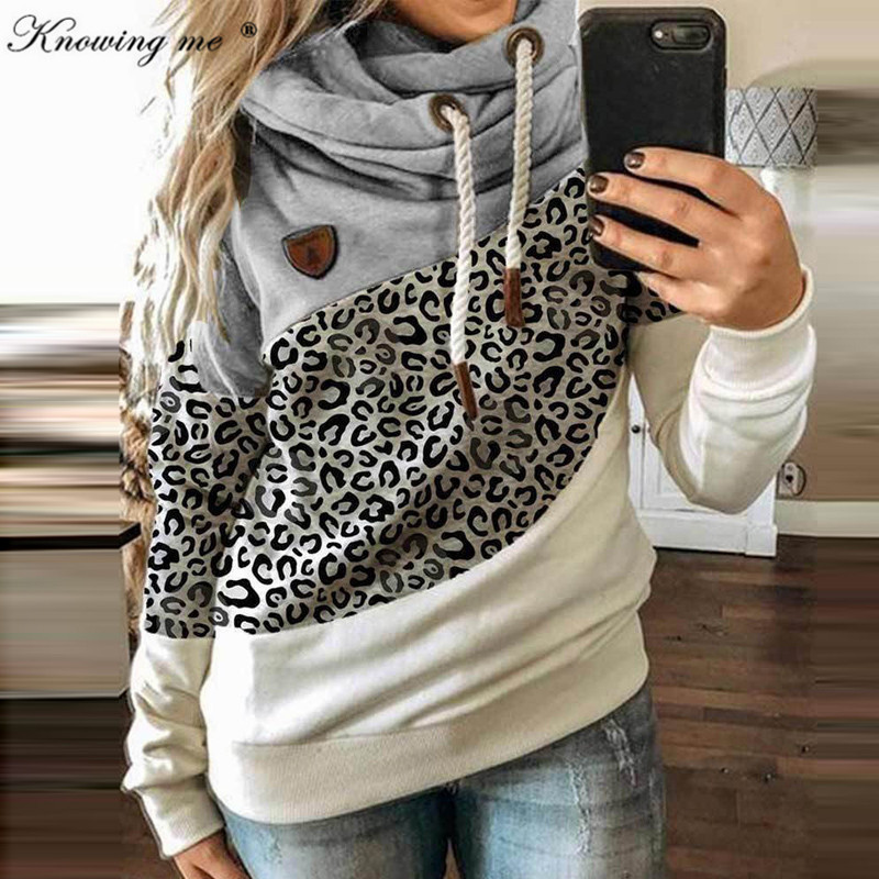 5XL Leopard Patchwork Hooded Sweatshirt Women 2020 Autumn Winter Long Sleeve Hoodies tops Female Drawstring pullovers Harajuku 1