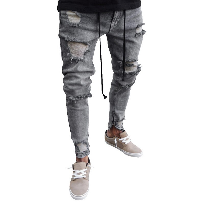 HEFLASHOR NEW Cotton Mens Ripped Jeans Super Skinny Slim Fit Denim Vintage Hole Pants Destroyed Frayed Trousers Plus Size 4XL