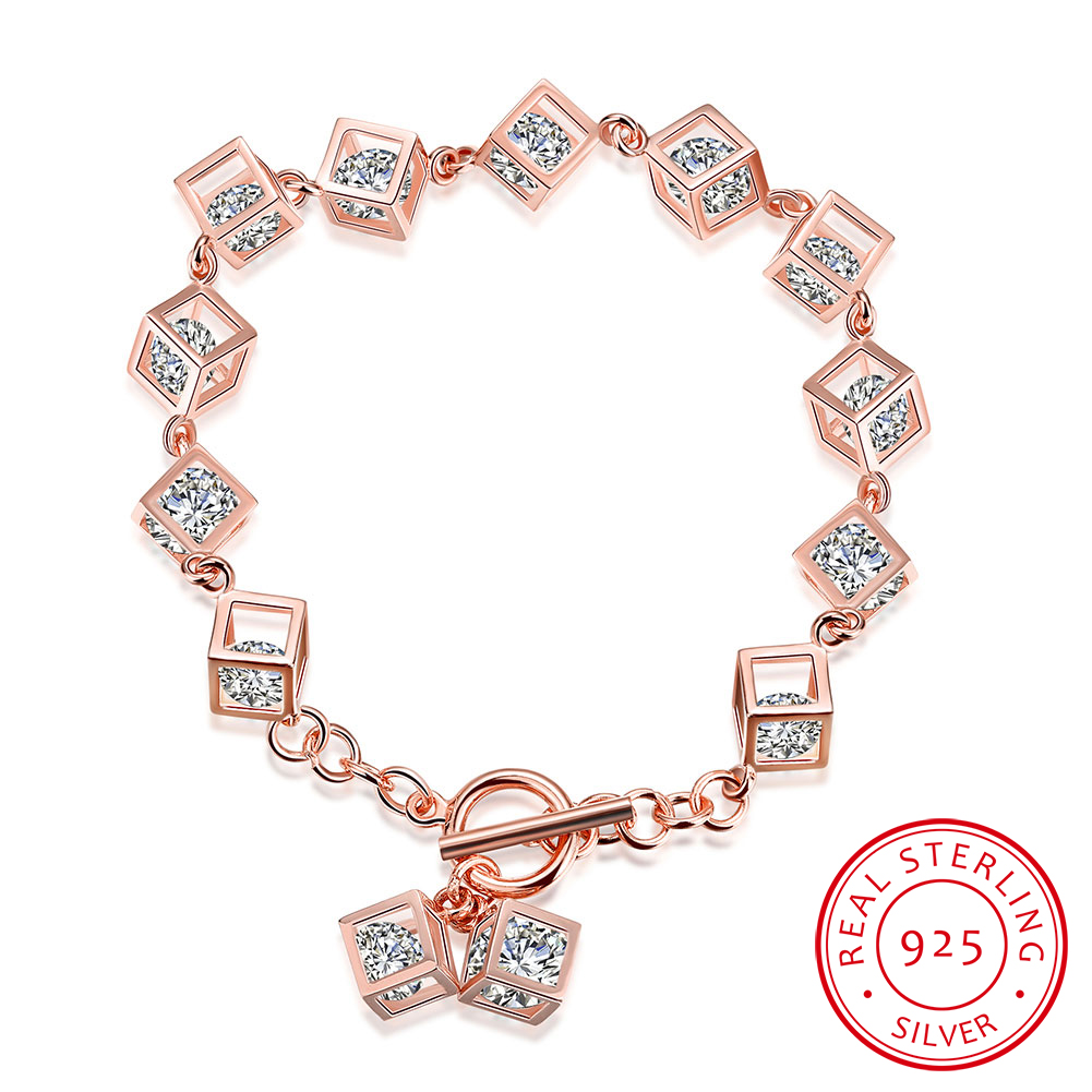 High-end boutique diamond jewelry bracelet Fashion party dressing Personality three-dimensional square gas Bracelet
