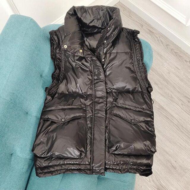 SEDUTMO 2020 Winter Duck Down Vest Women Ultra Light Oversize Waistcoat Autumn Casual  Short Pocket Jacket Slim Parkas ED1317 3