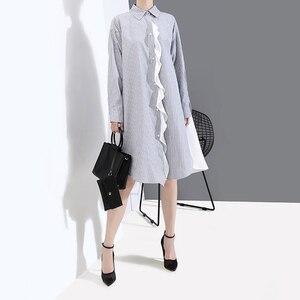 Image 3 - [Eam] feminino listrado emendado oversize camisa vestido nova lapela pescoço manga longa solto ajuste moda maré primavera outono 2020 1a882