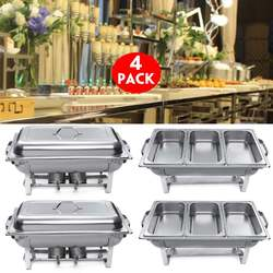 4Packs 3 Plates 9L Foldable Stainless Steel Square Buffet Stove Dish Set Container Food Warmer Chafing Dish Full Buffet Catering