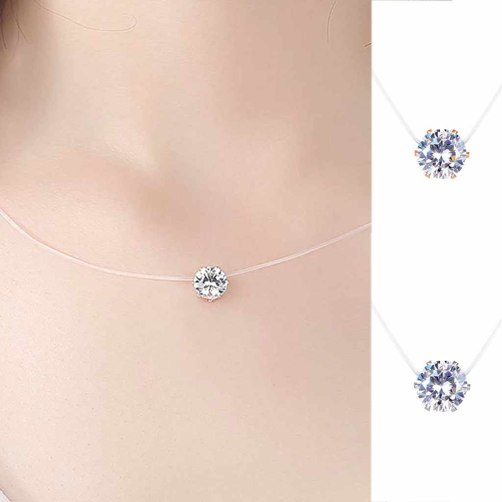 Fabulous Women Necklace Simple Zircon Pendant Round Necklace Translucent Fishline Clavicle Chain Valentine's Gift Trinket Choker