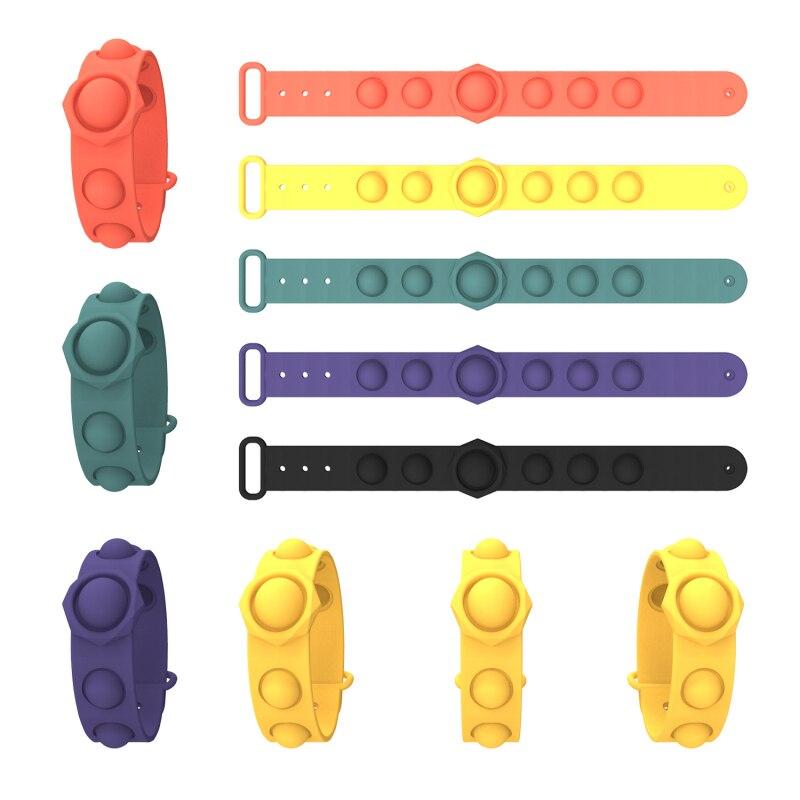 Portable Decompression Bracelet Fidget Simple Dimple Toys Pops It Stress Relief Hand Fidget Toys Soft Silicone Press Squeeze Toy