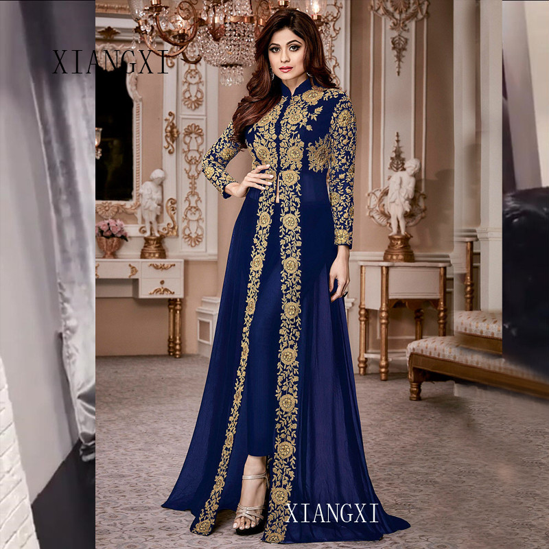 2020 Charming Muslim Evening Dresses Long Lace Appliques Full Sleeves High Collar Floor Length Evening Dress Formal Gowns Party