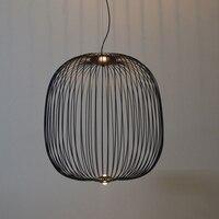 Modern Nordic Foscarini Spokes Pendant Lights Dimming Iron Bird Cage Pendant Lamps Suspension Dining Room Kitchen Fixtures