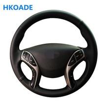 Couverture de volant de voiture en cuir artificiel souple, noir, cousu à la main, bricolage, pour Hyundai Elantra 2011 – 2016 Avante i30 2012 – 2016