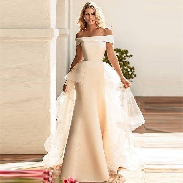 Verngo Mermaid düğün elbisesi es Ayrılabilir Tren Boho düğün elbisesi Vintage gelinlik Trouwjurk Törenlerinde Vestido De Noiva 2019