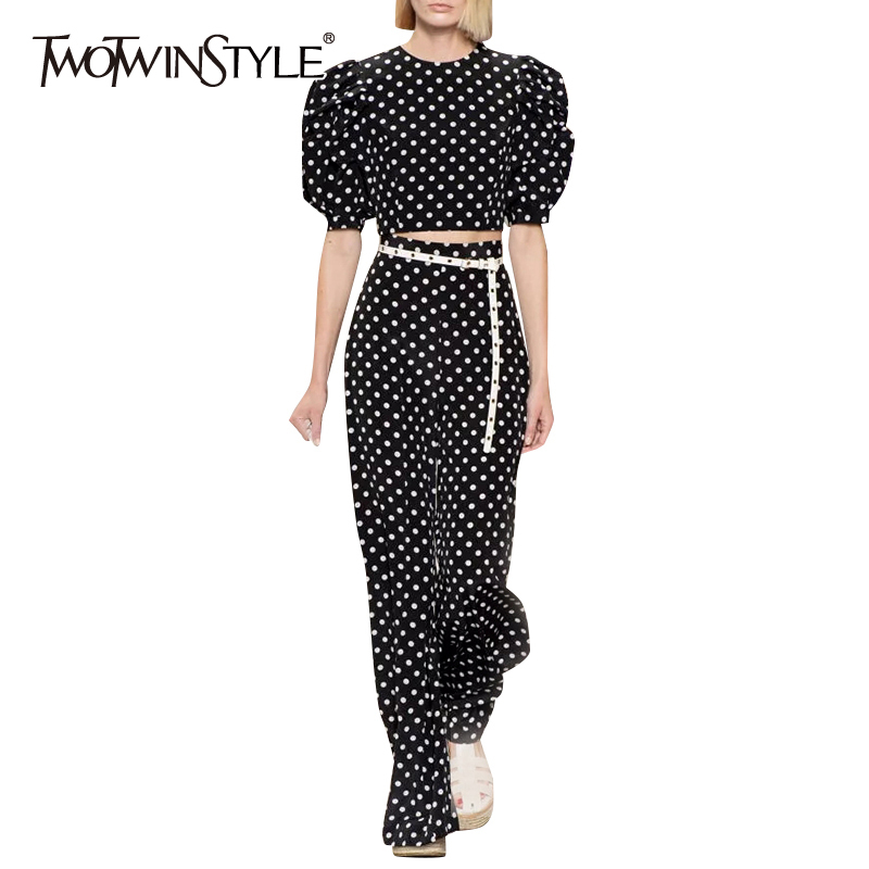 TWOTWINSTYLE Vintage Polka Dot Suits Women O Neck Puff Sleeve Short Top High Waist Full Length Pant Loose Two Piece Sets Female