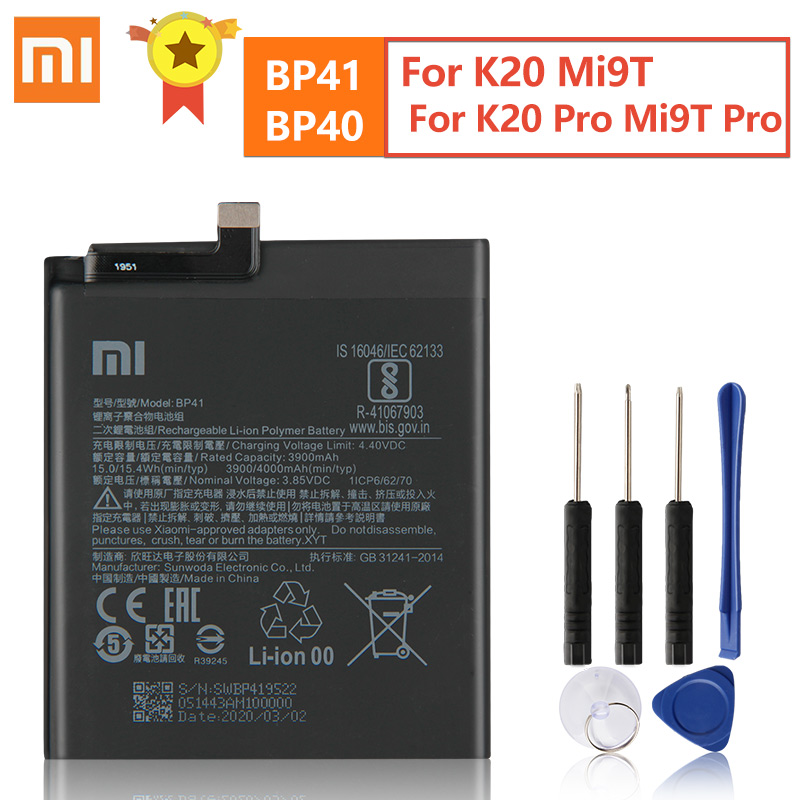 Original Replacement Battery BP41 BP40 For Xiaomi Redmi K20 Pro Mi 9T Pro Mi9T Redmi K20Pro Genuine Phone Battery 3900mAh