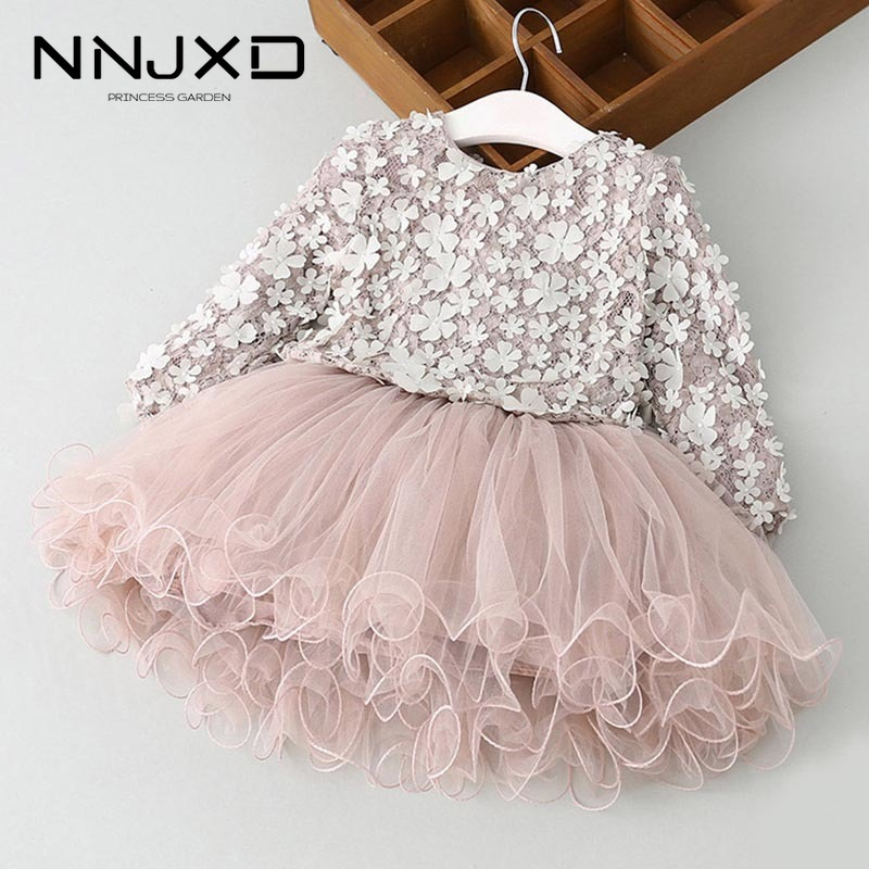 Autumn Winter Long Sleeves Kids Dresses For Girls Casual Wear Daily Clothes Princess Party Dress Children's Clothing For 3-8 Yrs