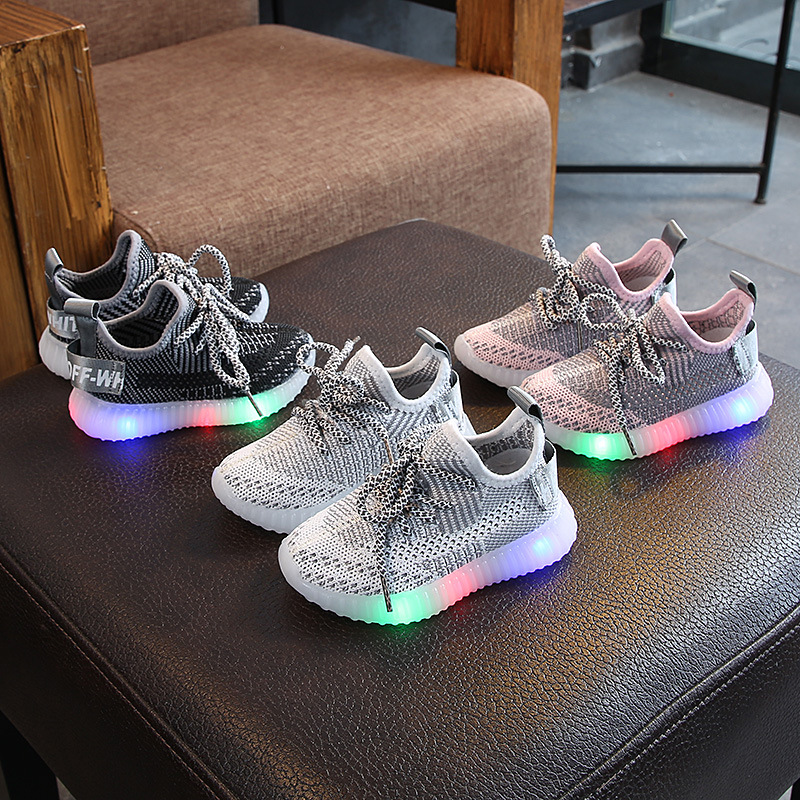 2020 Autumn Non-slip Children's Luminous LED Shoes New Children's Shoes Boys And Girls Fashion Breathable Boys Sneakers  21-30