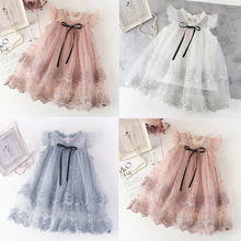 Girls Dress 2020 New Summer Brand Girls Clothes Lace And Flower Design Baby Girls Dress Kids Dresses For Girls Casual Wear 3 12Y cheap VIMIKID COTTON Mesh Knee-Length O-neck Flare Sleeve Sleeveless Cute Fits true to size take your normal size Flowers 309413