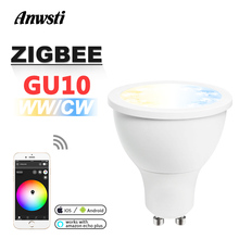 GLEDOPTO Zigbee CCT LED Spotlight GU10 5W WW CW Dimmable ZLL Smart APP Control Dual White AC 110V 230V 220V Bulb Light Lamp