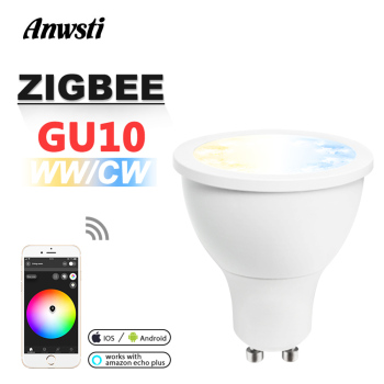 GLEDOPTO Zigbee CCT LED Spotlight GU10 5W WW CW Dimmable ZLL Smart APP Control Dual White AC 110V 230V 220V LED Bulb Light Lamp лампа светодиодная полусфера volpe simple gu10 5w 3000k led jcdr 5w ww gu10 s