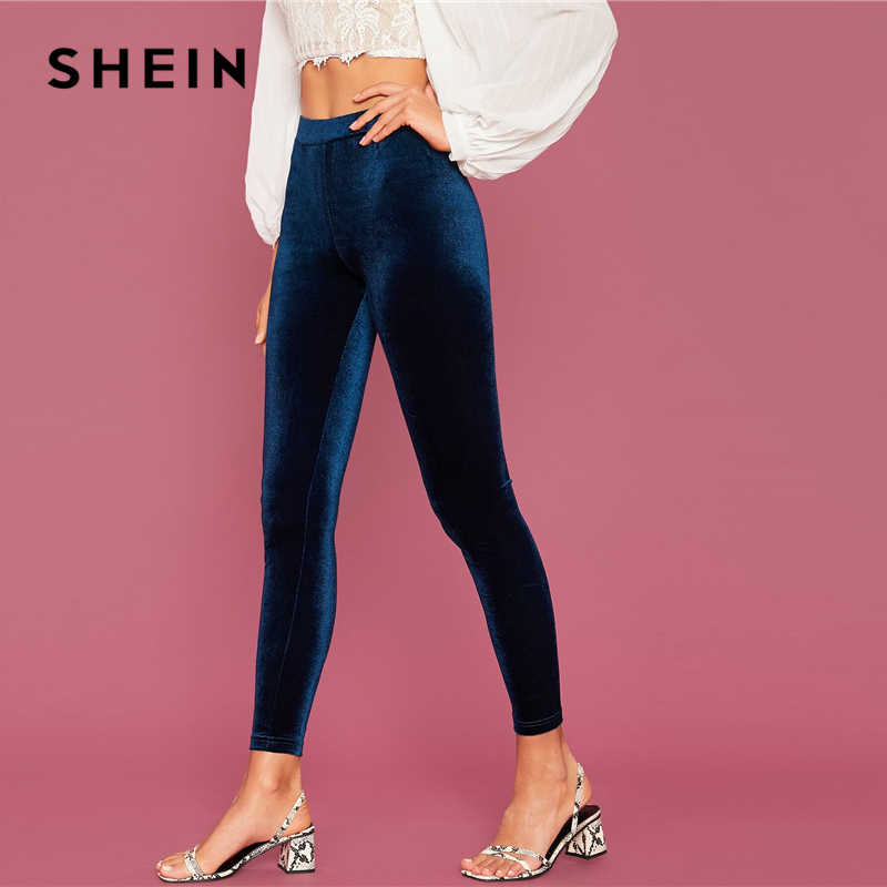 SHEIN Abaya Navy เอวกำมะหยี่กางเกงขายาวผู้หญิงฤดูใบไม้ร่วงฤดูหนาวยืดกลางเอว Glamorous Leggings