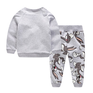 Image 2 - Children Winter Clothes Baby Boys Cartoon Clothing Sets Cute Rabbit Printed Warm Sweatsets for Baby Boys Girls Kids Clothes