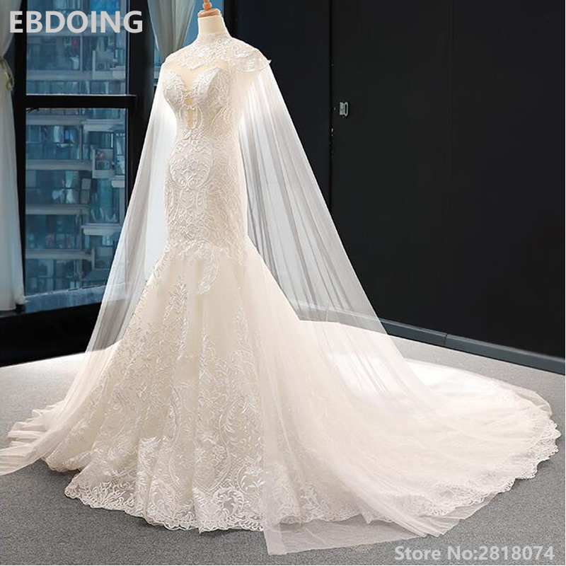 Wedding Dress Mermaid Lace Sweetheart Neckline Court Train With Removeable Long Sleeves Bride Dress Plus Size Wedding Gowns