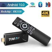 ТВ палка приставка для ТВ Android 10, 2 Гб оперативной памяти, 16 Гб встроенной памяти, 2,4/5G WI-FI android приставка для ТВ Bluetooth RK3318 четырехъядерный смарт-...