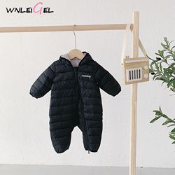 WLG new baby born baby winter warm romper baby boy girls solid zipper hooded cloth kids cotton fanshion all match clothes