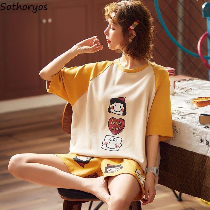 Pajama Sets Shorts Women 2XL Summer Kawaii Korean Style Cartoon Stretchy Leisure Ulzzang Outerwear Simple Stylish Womens Pyjamas