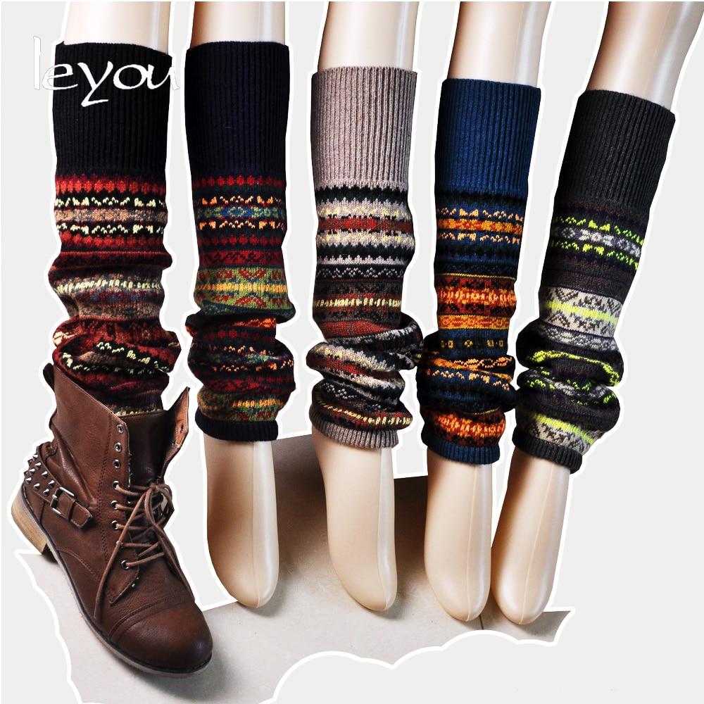 Leyou New Fashion Boot Socks Women Crochet Leg Warmers Striped Beenwarmers Vrouwen Boot Cuffs Leg Warmers Wool