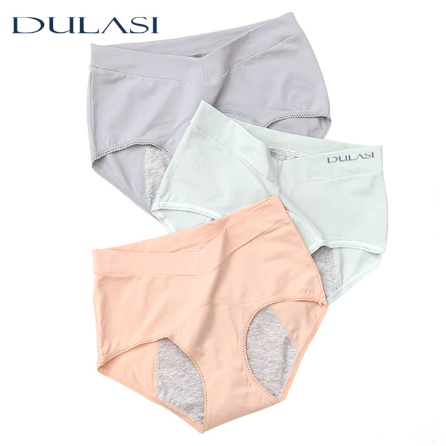 Cotton Period Panties Woman Physiological Underwear Leakproof V Neck High Waist Menstrual Underpants Breathable Lingerie Top