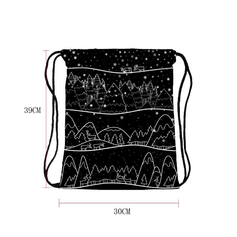 Christmas Backpack Drawstring Shopping Bags Travel Holiday Party Decoration X5XA