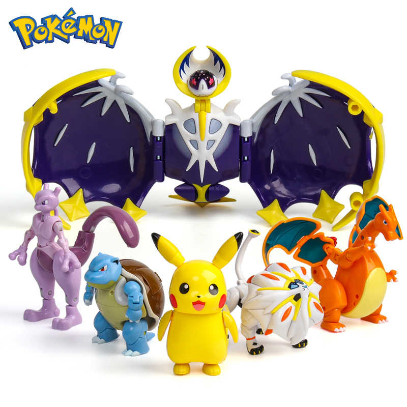 Asli POKEMON Mainan Pocket Monster Lunala Pikachu Solgaleo Charizard Action Figure Model Anime One Piece Mainan untuk Anak-anak Hadiah