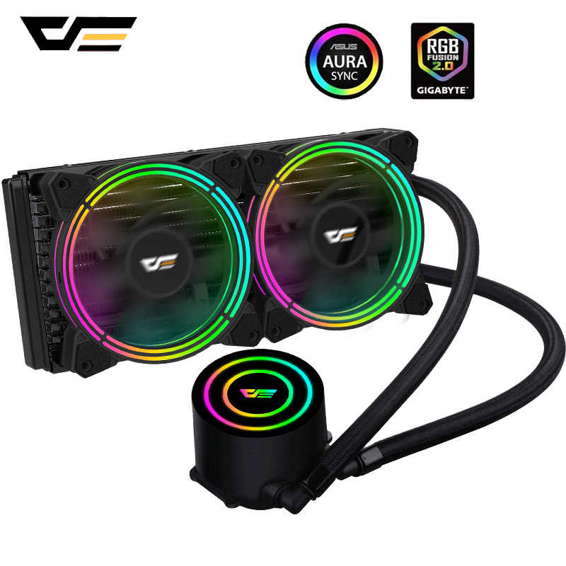 Darkflash Pc Case Waterkoeling Aio Cpu Koeler 240Mm Radiator Rgb Fan Sync Tdp 350W Cpu Liquid Cooler voor Lga 115x/2011/AM3 +/AM4