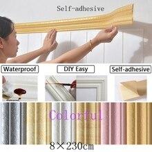 Съемный 3D пенопластовый тисненый стикер для дома DIY стикер стены полоса водонепроницаемый самоклеющиеся обои для украшения стен, дверей, окон