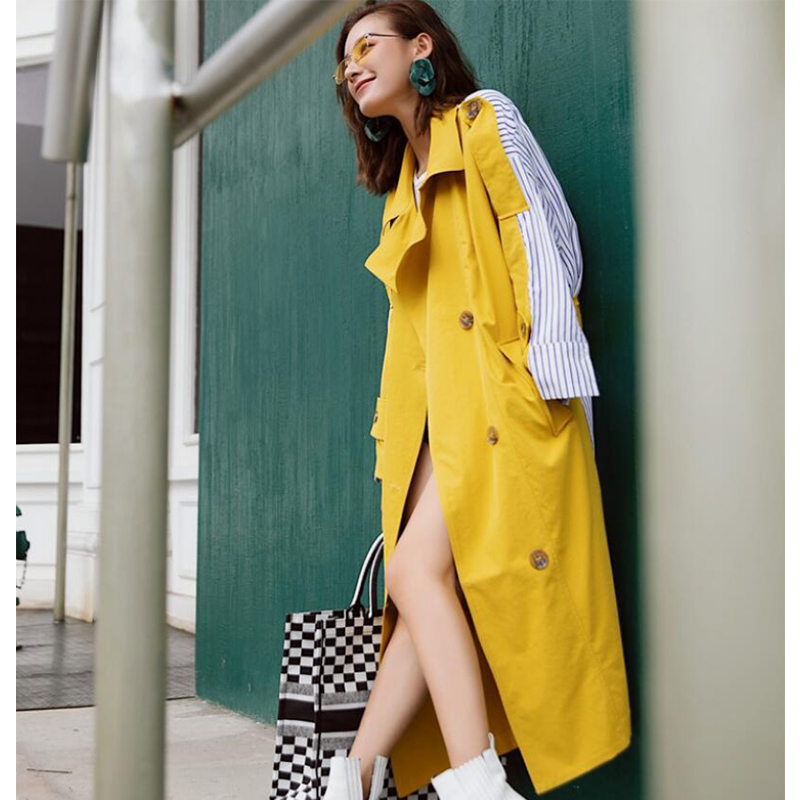Liva Girl Striped Patchwork Windbreaker For Women Long Sleeve Yellow Trench Coat