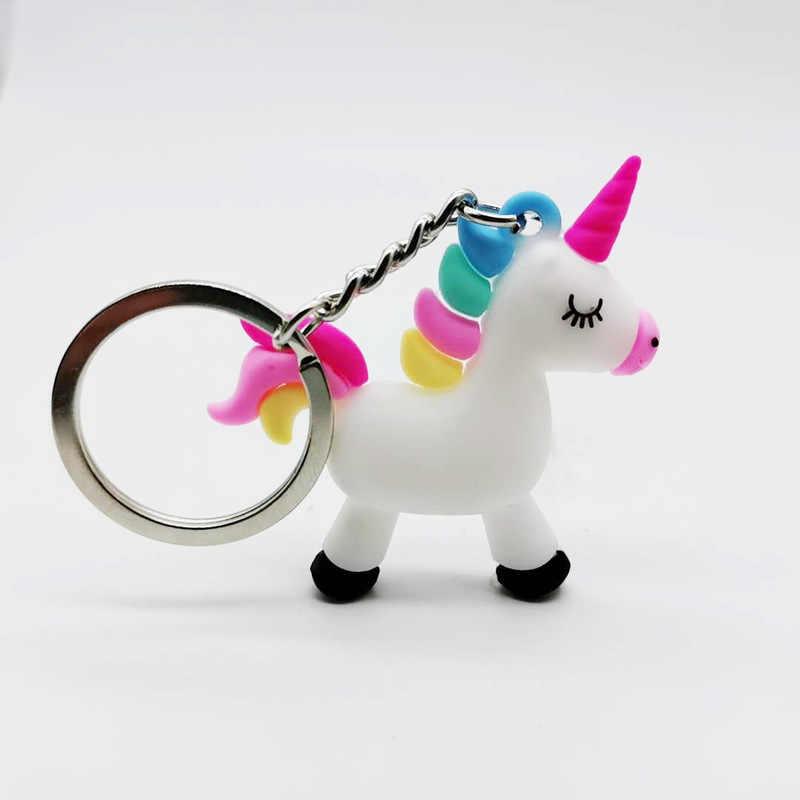 קריקטורה קטן Unicorn תליון מפתח תליון בפלאש צעצועי Keyring ילדה ילדים מתנה הסיליקון רך צעצועים
