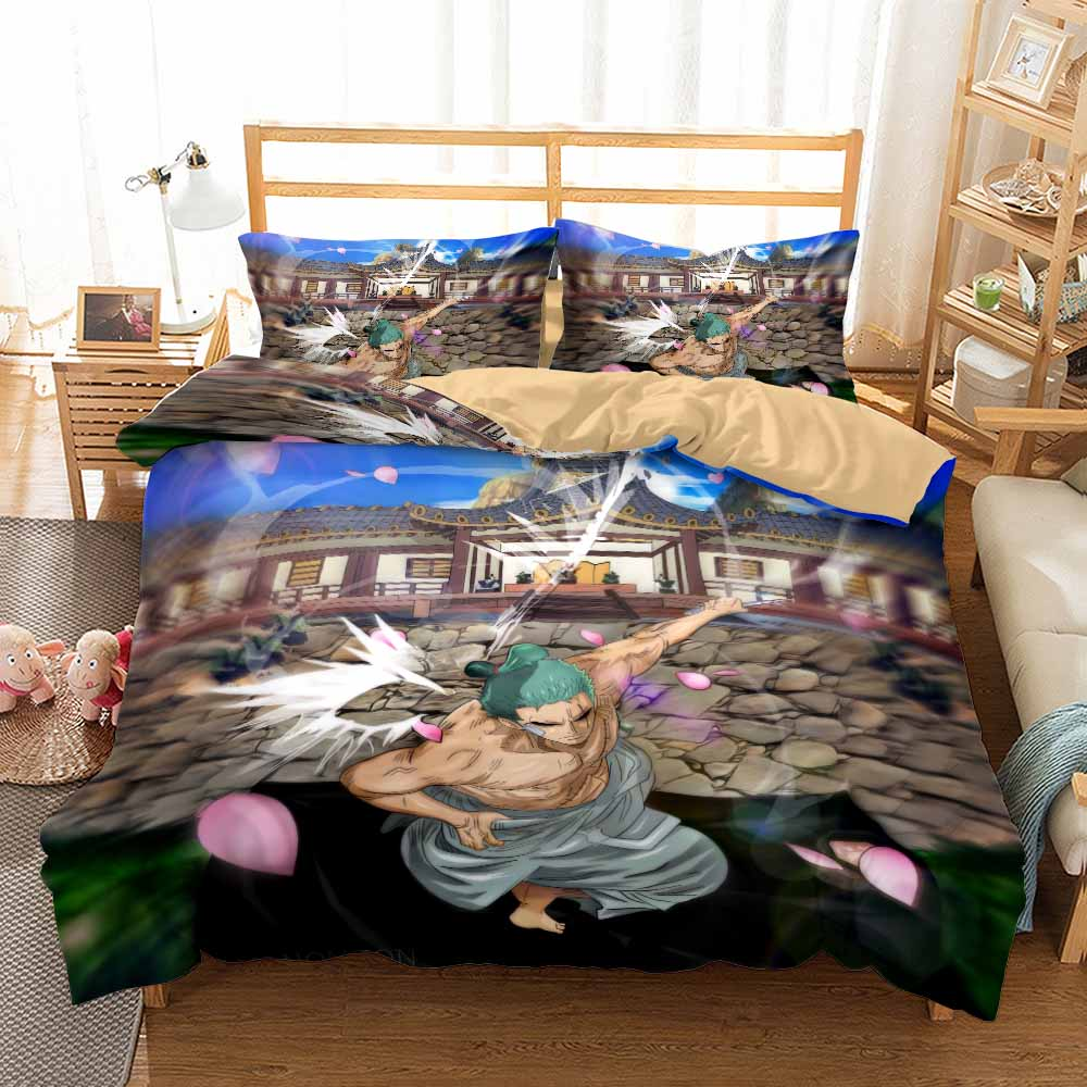 Anime One Piece 3D Print Korea's Cotton Bedding Set for Kids Duvet Cover Set Twin Full Queen King Size Bedclothes Bed Linen Set