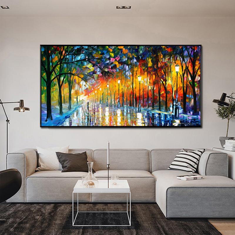 Canvas Painting Landscape Posters And Prints Rain Light Road Oil Painting Wall Art Pictures For Living Room Home Decor Cuadros