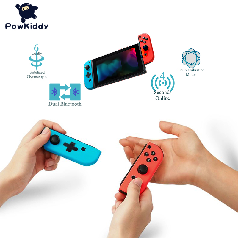 POWKIDDY Wireless Joy Controller Left & Right For Switch Console Joystick Strap Red And Blue Video Games Bluetooth (L+R) Gamepad