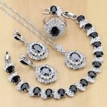 Oval 925 gümüş takı siyah CZ beyaz kübik zirkonya takı setleri kadınlar için parti küpe/kolye/kolye/yüzük/bilezik