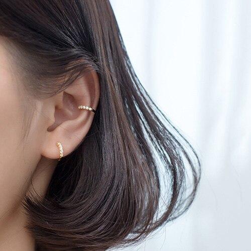 Trustdavis Clip-On-Earrings Jewelry Ear-Cuff Shining 100%925-Sterling-Silver Women CZ