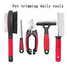 gooi stainless steel ts 10 11 15 straight and angled tweezerses 3 piece set Pet comb 5 piece set stainless steel nail clipper short hair dog and cat daily necessities