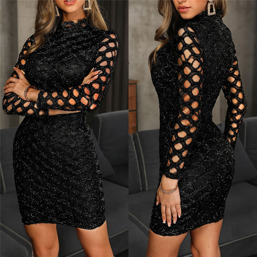 Women Sleeveless Sexy Hollow Out Shiny Dress Casual Bodycon Evening Party Cocktail Club Mini Dress Sundress