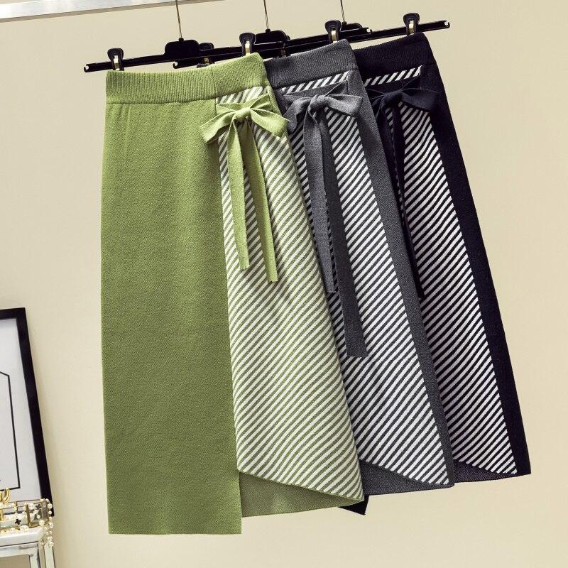 2019 Autumn Women Knitted Skirt Fashion Winter Bow Tie Irregular Midi Skirt Green Hip Package Stripe Faldas Jupe Femme Saia