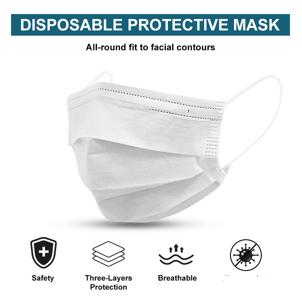 In Stock 50PCS Mask Respirator Face Masks White Disposable 3 Layers Dustproof Mask Facial Protective Cover Masks