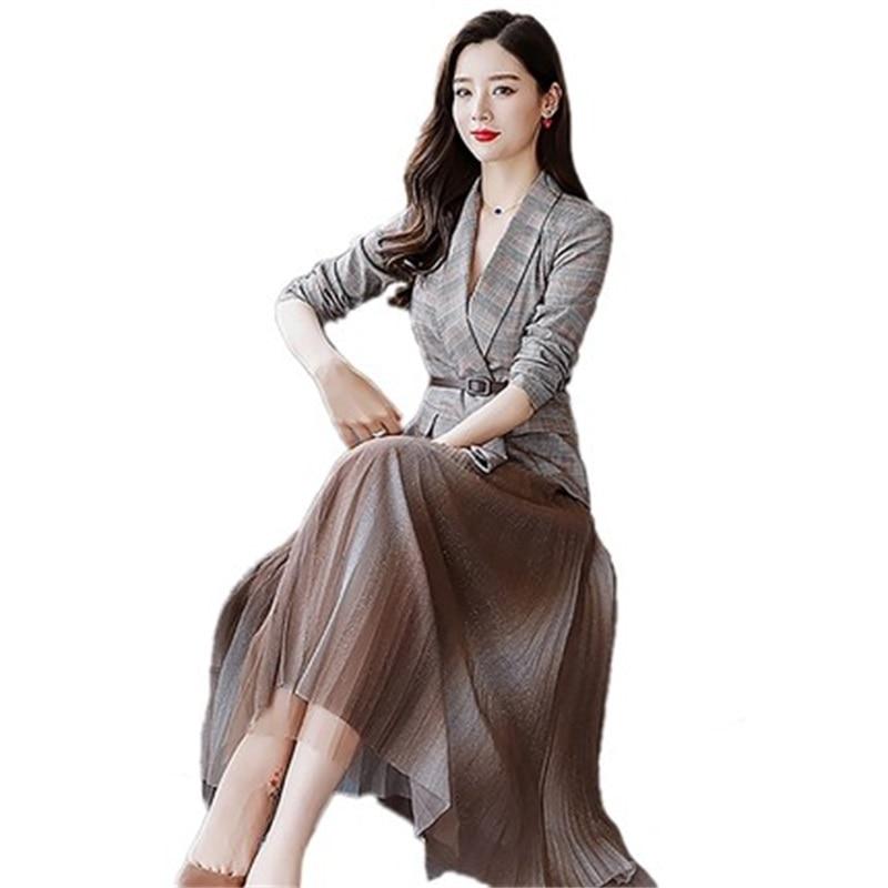 Women's Spring And Autumn Goddess Fan New Mesh Pleated Skirt Temperament Irregular V-neck Lacing Blazers Skirt Suit Two-piece