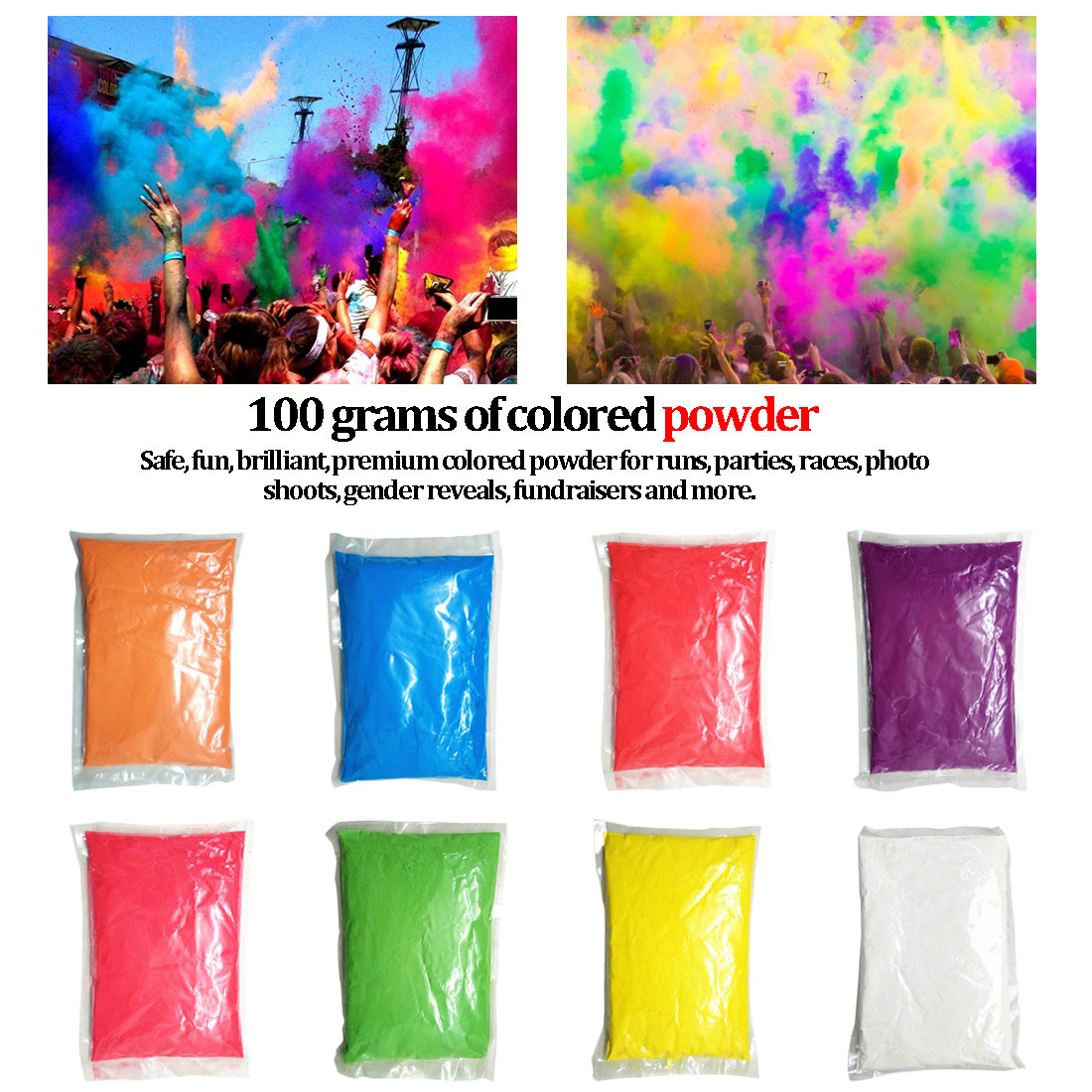 Novelty Festival Rainbow Corn Flour Funny Gadgets Colorful Powder Gags Practical Jokes 100g/bag Colored Powder For Holi Party