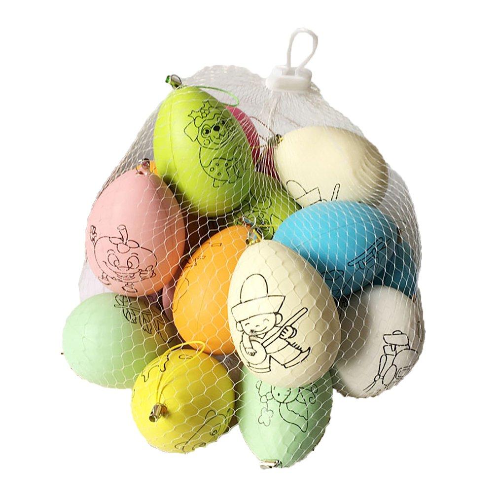 20pcs Easter Eggs Children Handmade Craft Toys DIY Easter Eggs Cartoon Painted Eggshell Kids Educational Toys Gifts Random Color