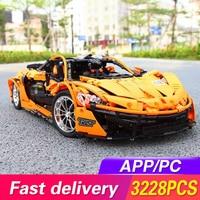 Technic Series Bricks The MOC 16915 McLaren P1 Orange Super Racing Car Building Blocks Hypercar Model RC APP Toys For Children